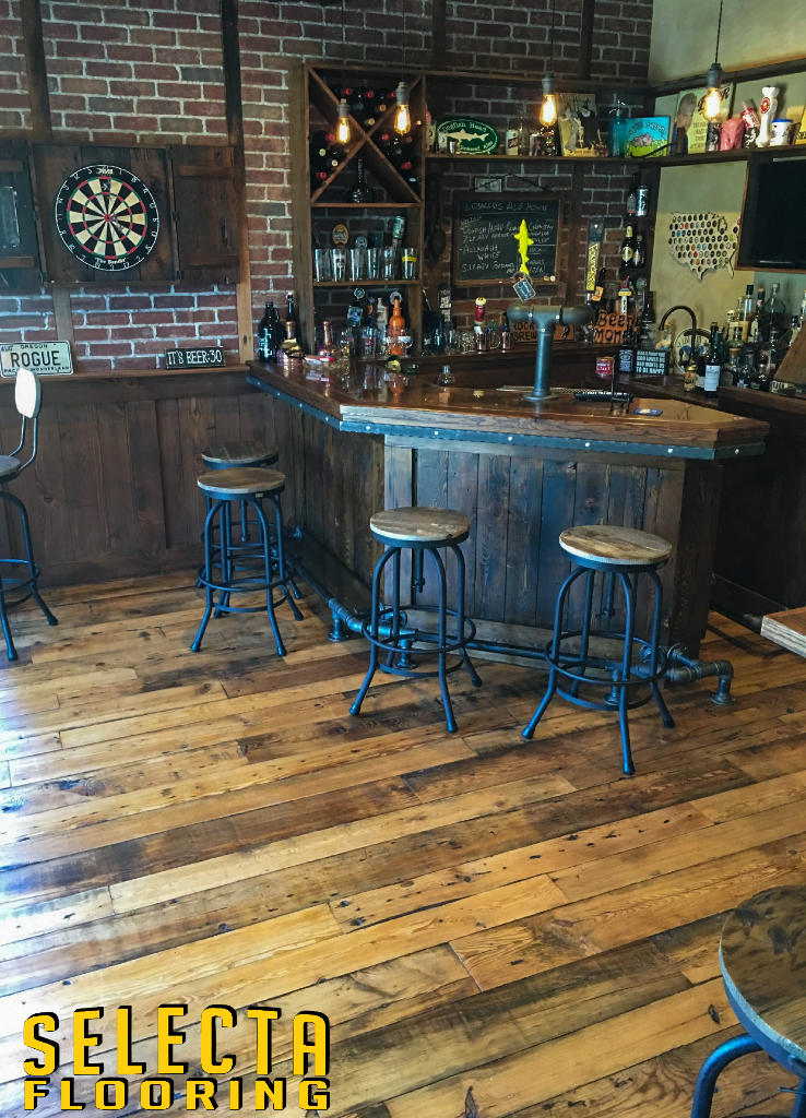 Wood Flooring with a bar in Union County New Jersey
